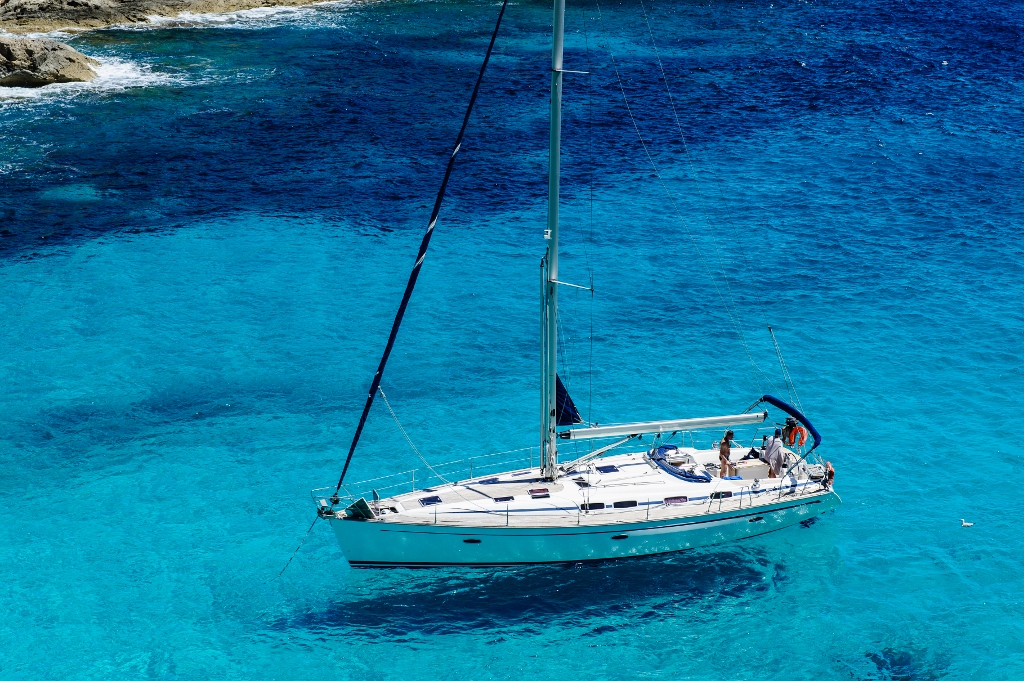 Yacht anchored in a bay